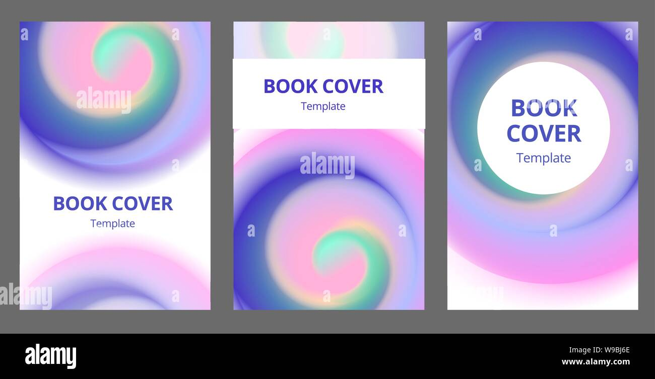 Modern Abstract Brochure Covers Set Cool Gradient Shapes
