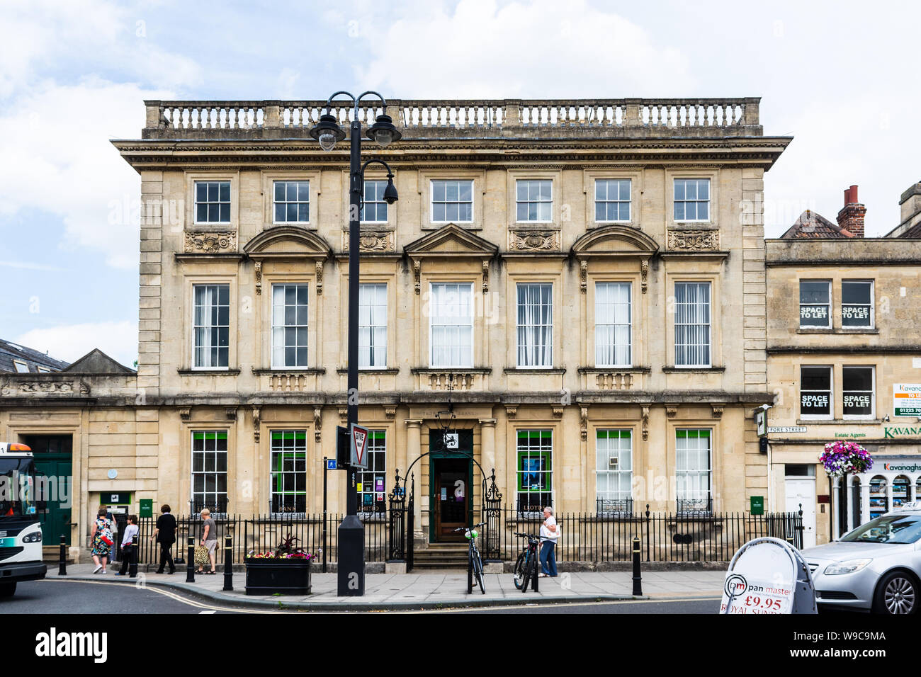 The branch of Lloyds bank in Trowbridge Wiltshire. A grade 1 listed building described as a stately palatial composition from Ashlar stone Stock Photo