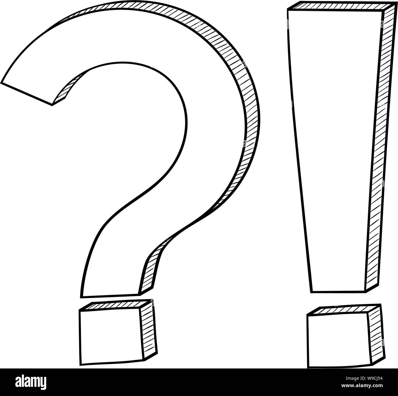 Question and Exlamation marks. Outline icon Stock Vector