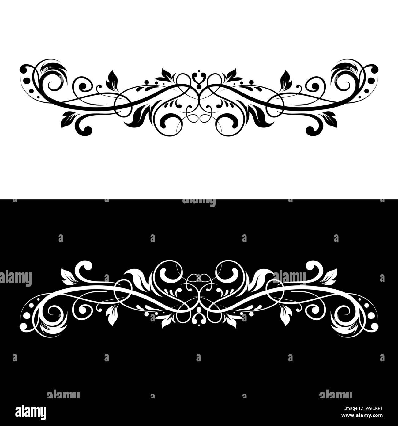 Ornamental dividers. Black and white decorative filigree design elements Stock Vector