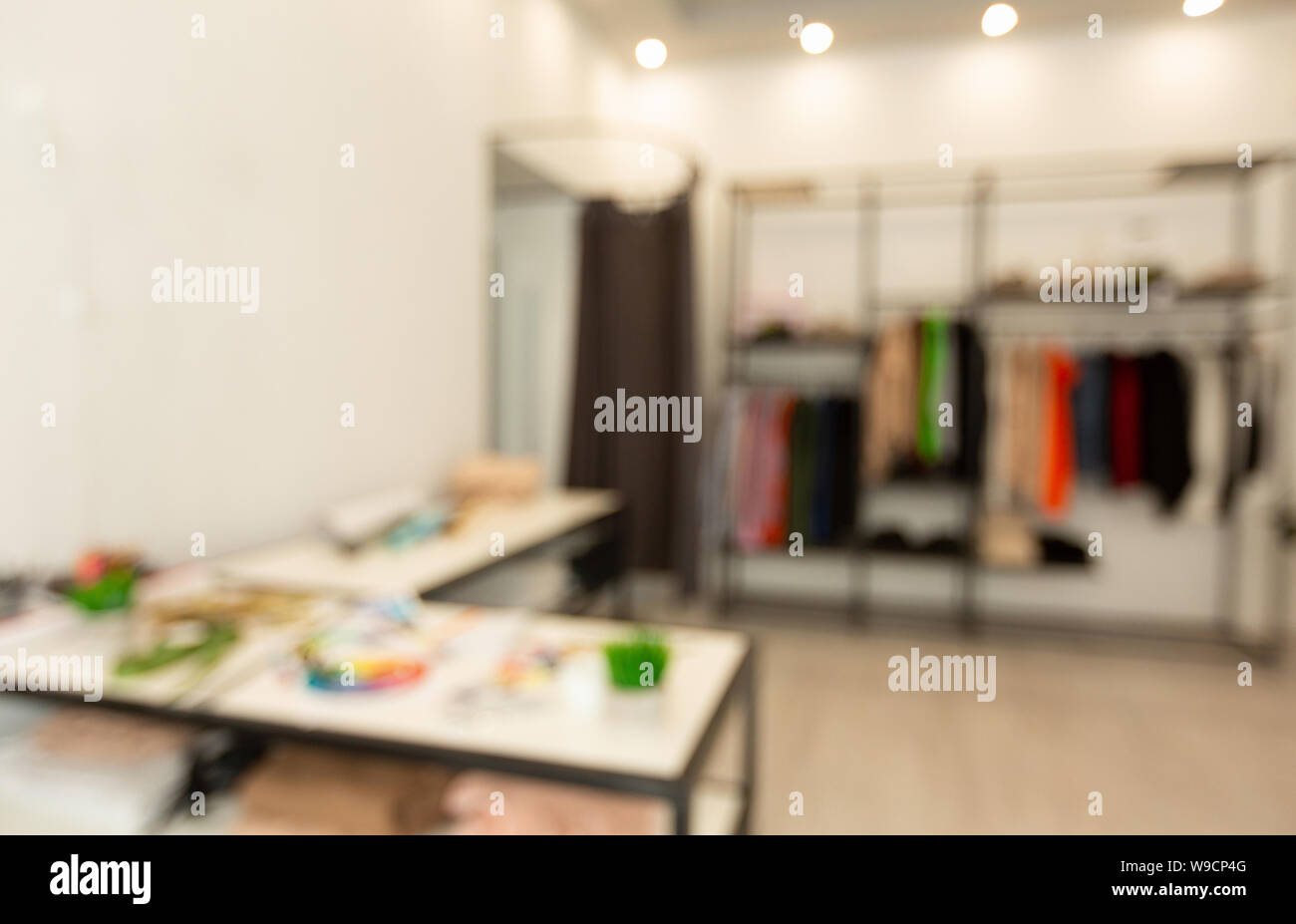 Blurred Fashion Designer Workshop Studio Background With Copy Space Stock Photo Alamy