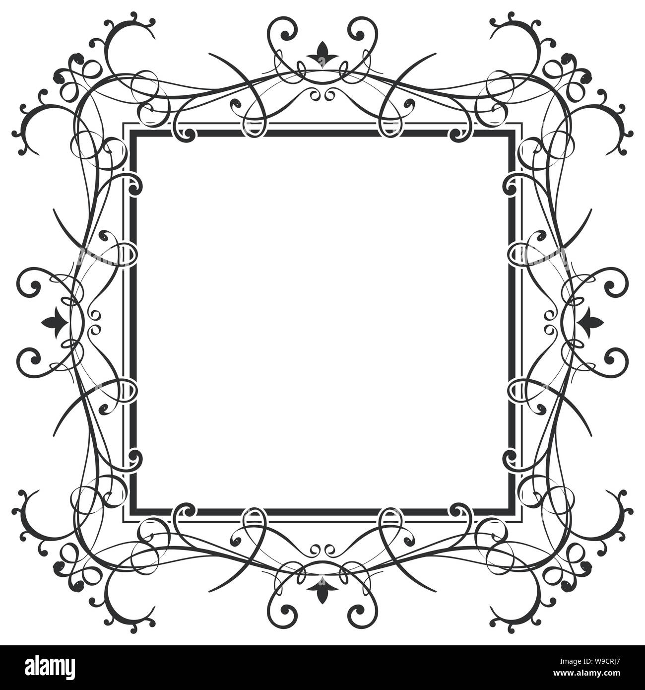 Floral filigree frame. Decorative design element Stock Vector