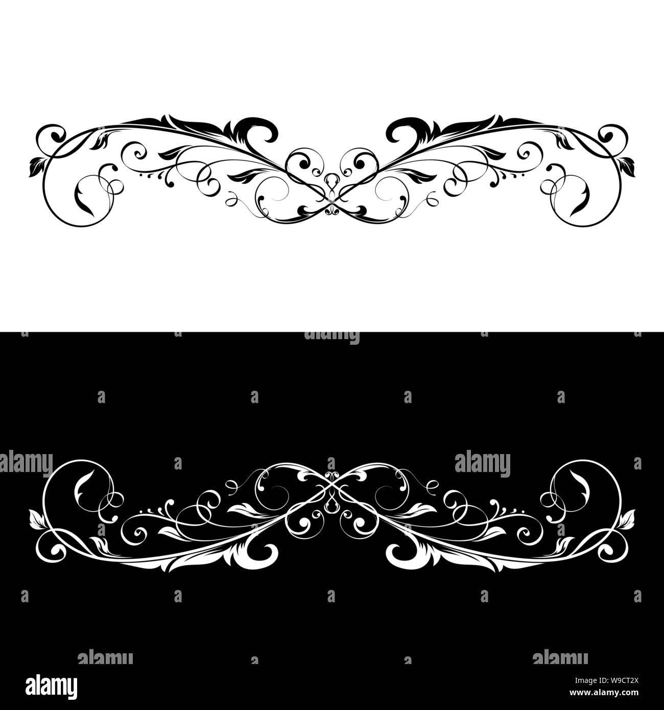Ornamental dividers. Black and white decorative filigree design elements Stock Vector
