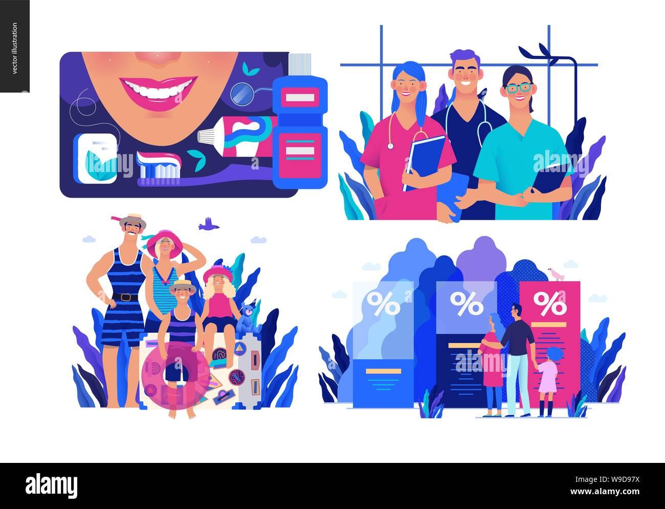 Health Insurance Plans >> Set Of Medical Insurance Illustrations Dental Care