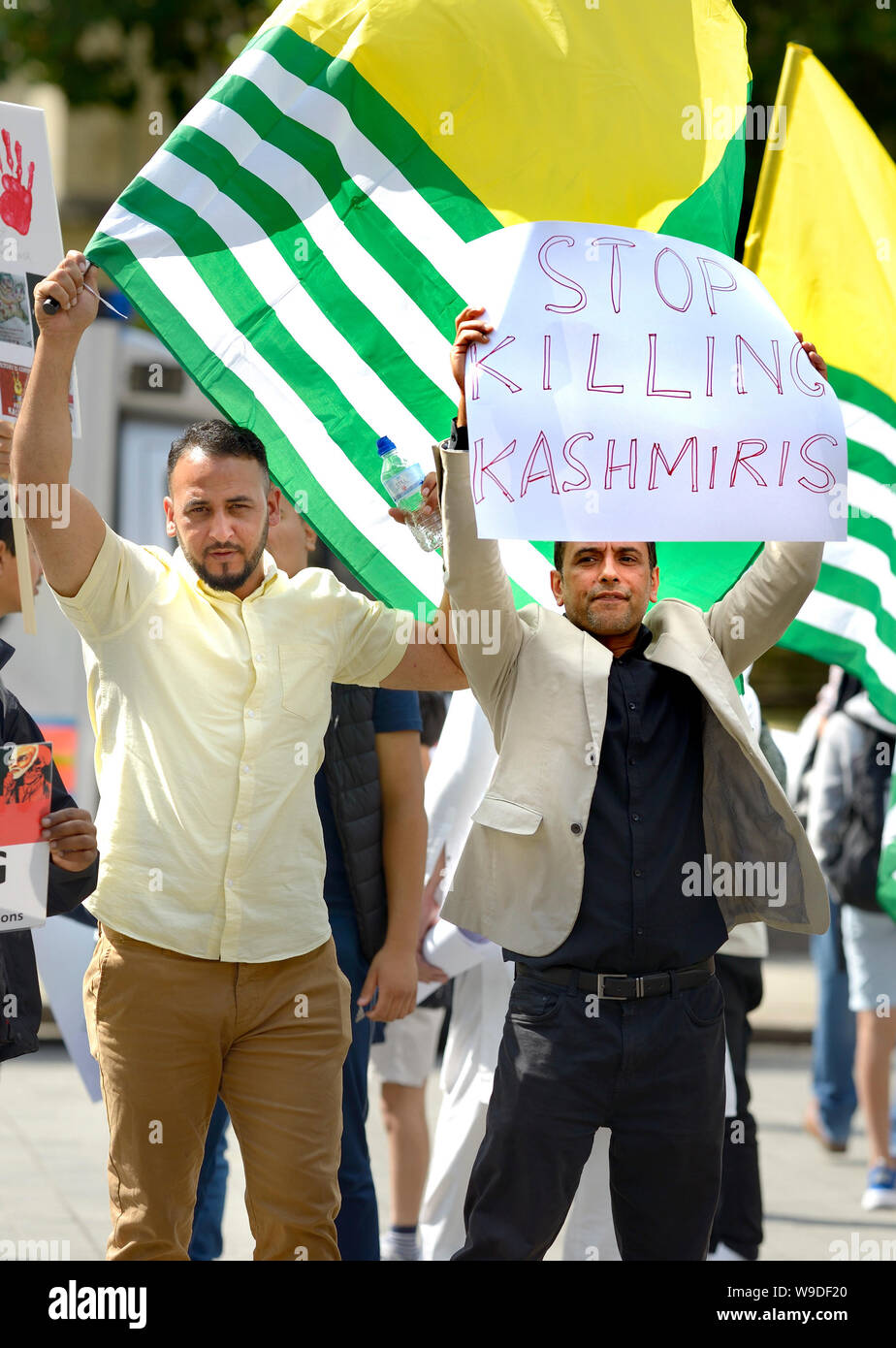 London, UK. 13th Aug, 2019. Kashmiri campaigners in Parliament Square, Westminster, protesting India's involvement in Kashmir, a week after the Modi Government revoked article 370, a constitutional provision granting the region special status-- Credit: PjrFoto/Alamy Live News Stock Photo