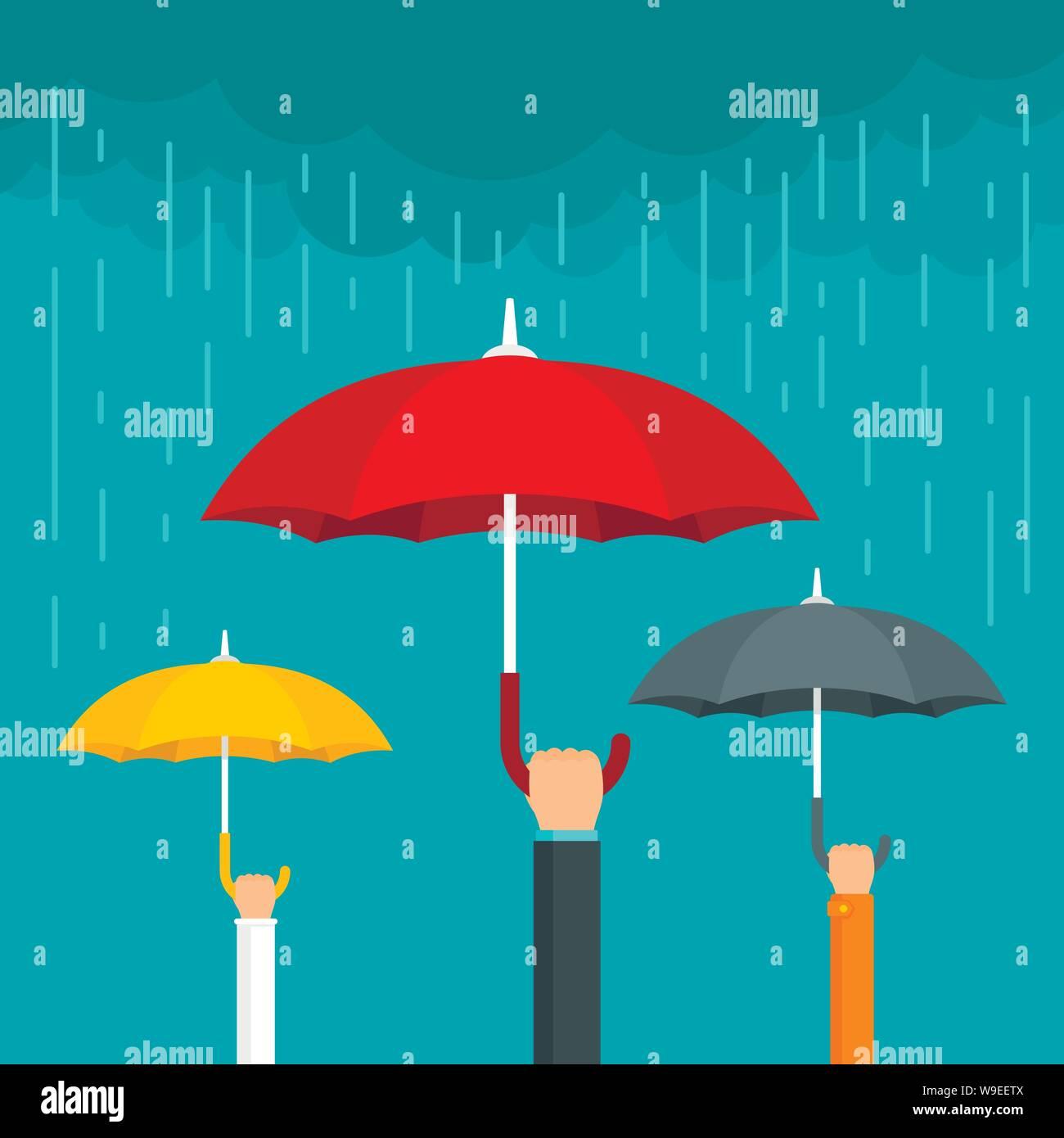 Umbrella concept background. Flat illustration of umbrella vector concept background for web design Stock Vector