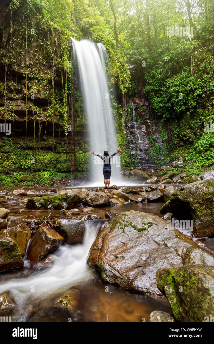 Unidentified Woman Standing At Mahua Waterfall In Crocker Range National Park Tambunan Sabah Borneo Malaysia Stock Photo Alamy