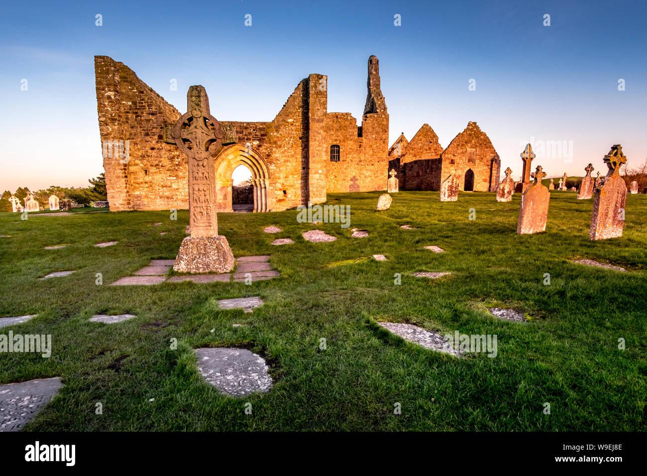 Clonmacnoise Monastery in Ireland countryside Stock Photo