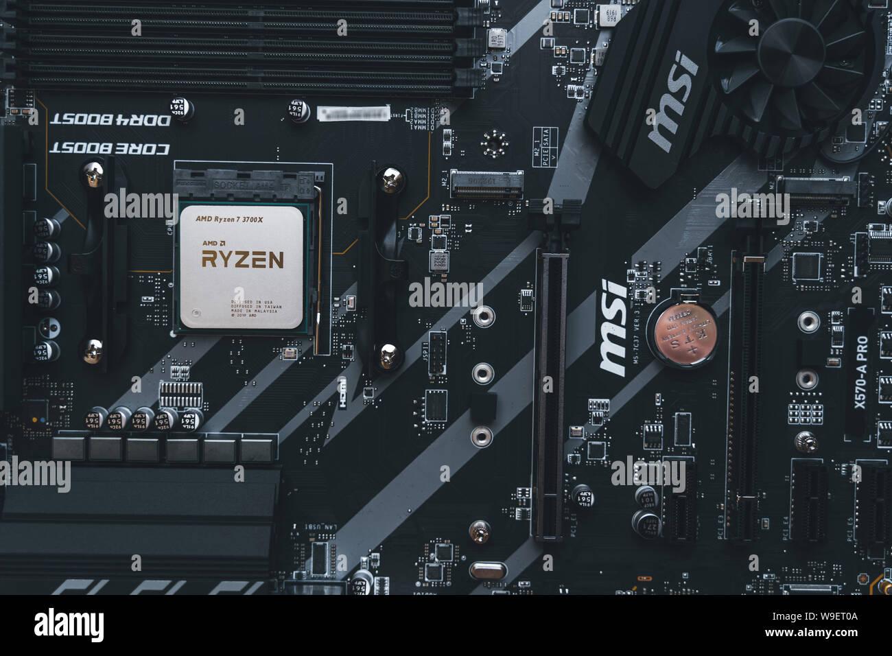 Amd Ryzen 3700x Processor In The X570 Motherboard Socket New Zen 2 7 Nanometer Desktop Cpu By Amd Very Popular 3rd Generation Ryzen 3000 Processor Stock Photo Alamy