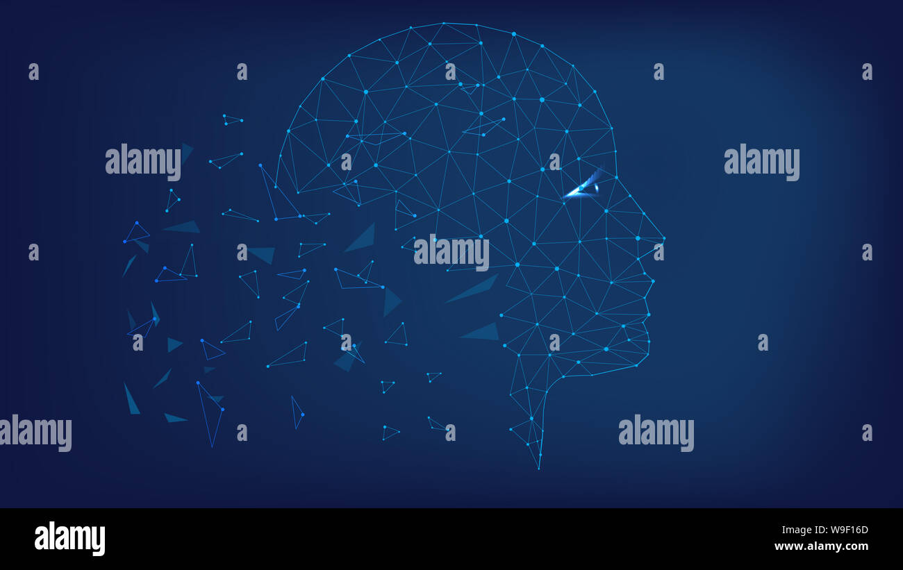 Silhouette head. Polygonal illustration of triangles and points. Background of beautiful dark blue night sky. Stock Photo