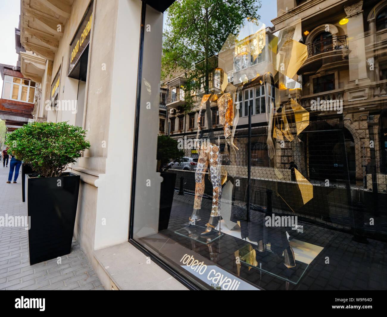 Baku, Azerbaijan - May 2, 2019: Facade showcase of Roberto Cavalli flagship store on the central boulevard in Azeri capital Stock Photo