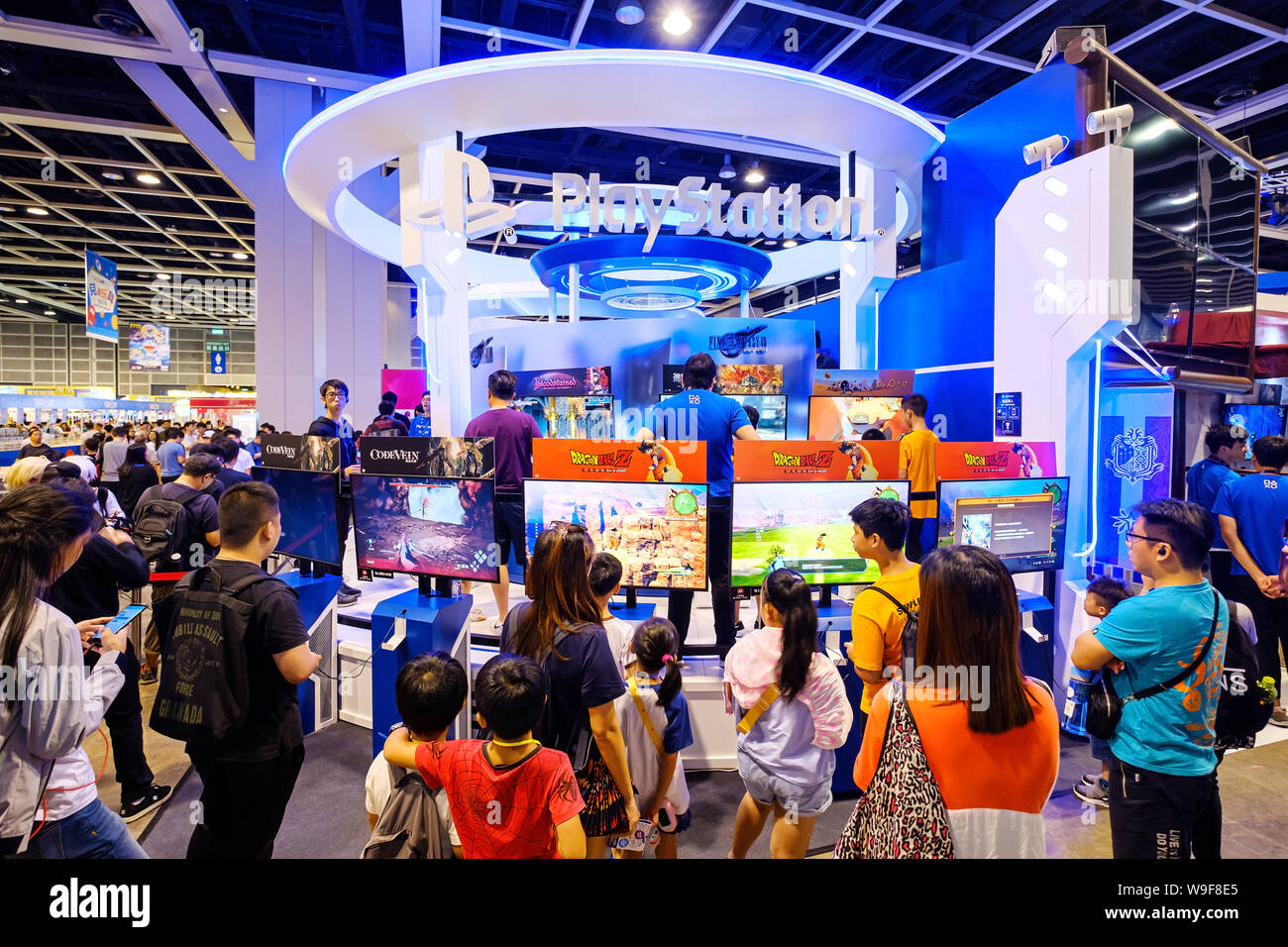 Visitors seen playing a Sony PS4 Monster Hunter game during