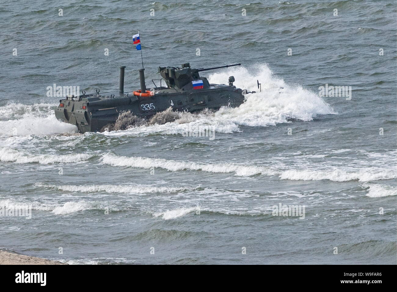 Russia. 13th Aug, 2019. KALININGRAD REGION, RUSSIA - AUGUST 13, 2019: The amphibious combat vehicle of the Russian team during the Seaborne Assault Ñontest of the 2019 International Army Games, at Khmelevka, Kaliningrad Region. Vadim Savitsky/Press Office of the Ministry of Defence of the Russian Federation/TASS Credit: ITAR-TASS News Agency/Alamy Live News Stock Photo