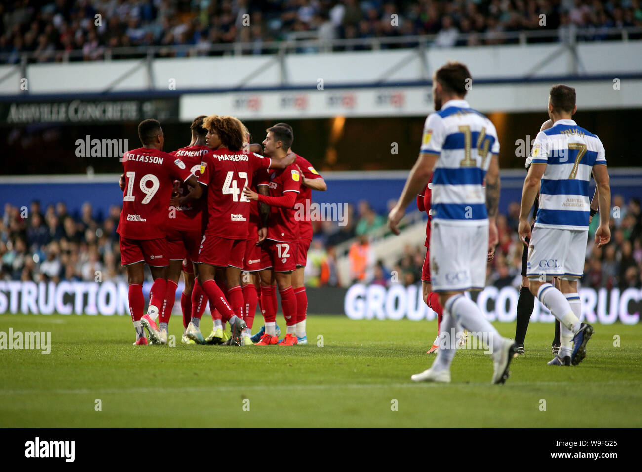 London, UK. 13th Aug, 2019. Jack Hunt of Bristol City celebrates with teammates after scoring his team's second goal during Carabao cup, EFL Cup 1st round match, Queens Park Rangers v Bristol City at The Kiyan Prince Foundation Stadium, Loftus Road in London on Tuesday 13th August 2019. this image may only be used for Editorial purposes. Editorial use only, license required for commercial use. No use in betting, games or a single club/league/player publications. pic by Tom Smeeth/Andrew Orchard sports photography/Alamy Live news Credit: Andrew Orchard sports photography/Alamy Live News Stock Photo