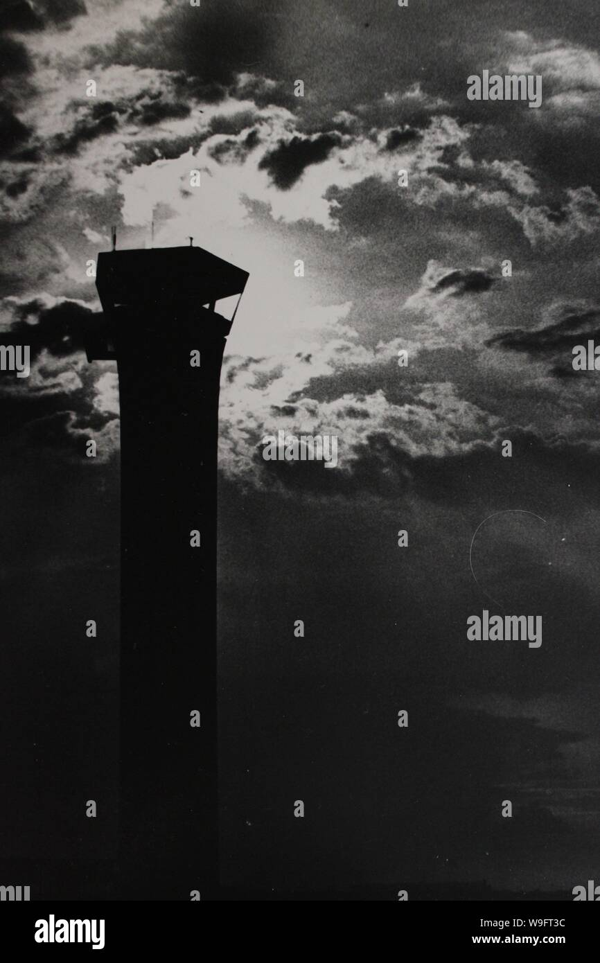 Fine black and white art photography from the 1970s of the old O'Hare airport's control tower. Stock Photo