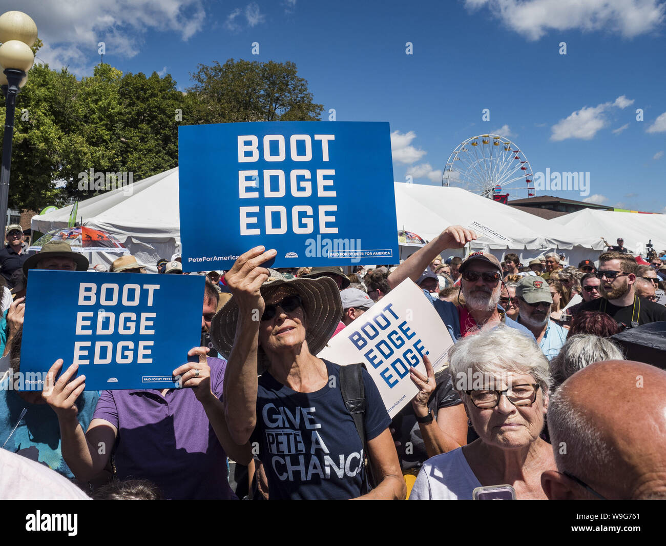 Des Moines, Iowa, USA  13th Aug, 2019  Supporters of Pete