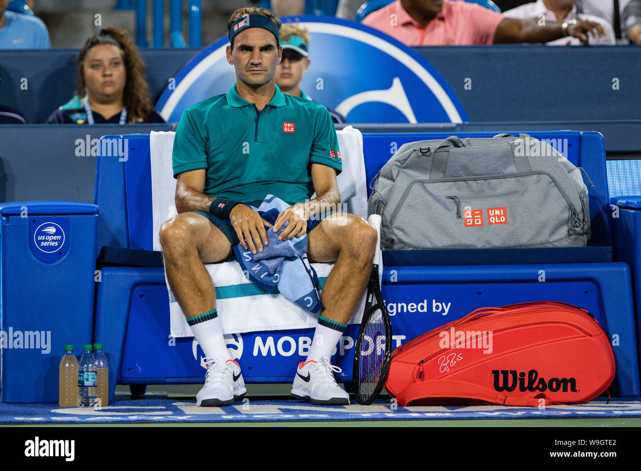 Mason, Ohio, USA. 13th Aug, 2019. Roger Federer, (SUI) rests between sets during Tuesday's round of the Western and Southern Open at the Lindner Family Tennis Center, Mason, Oh. Credit: Scott Stuart/ZUMA Wire/Alamy Live News Stock Photo
