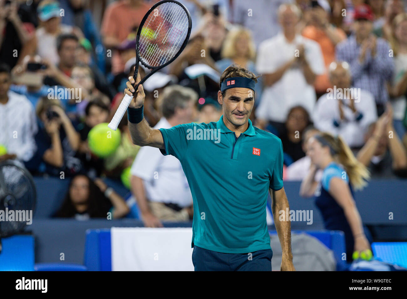 Mason, Ohio, USA. 13th Aug, 2019. Roger Federer, (SUI) waves to the crowd after winning his match at Tuesday's round of the Western and Southern Open at the Lindner Family Tennis Center, Mason, Oh. Credit: Scott Stuart/ZUMA Wire/Alamy Live News Stock Photo