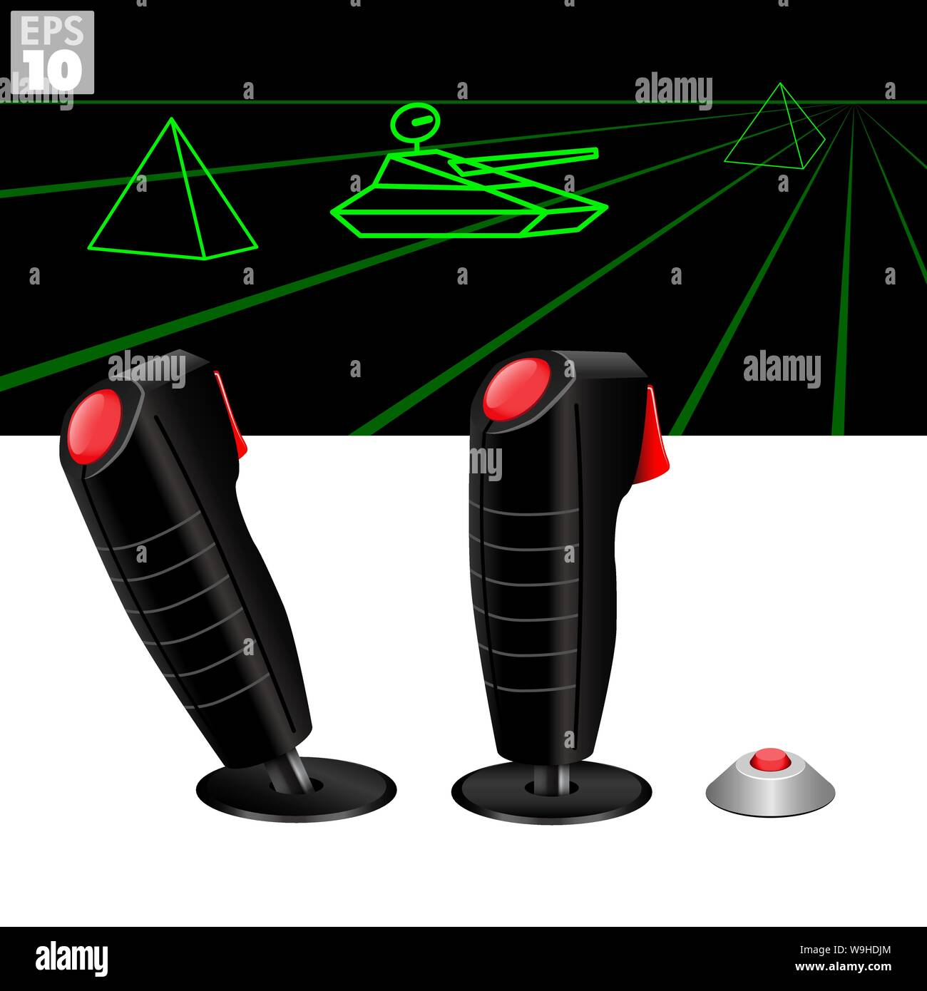 Dual joysticks or flightsticks with top fire and trigger fire button to control throttle and direction in classic arcade video games. Stock Vector