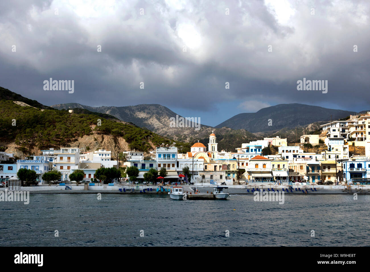 Karpathos island - Diafani, panoramic view from the boat,  Aegean sea, Dodecanese Islands, Greece Stock Photo