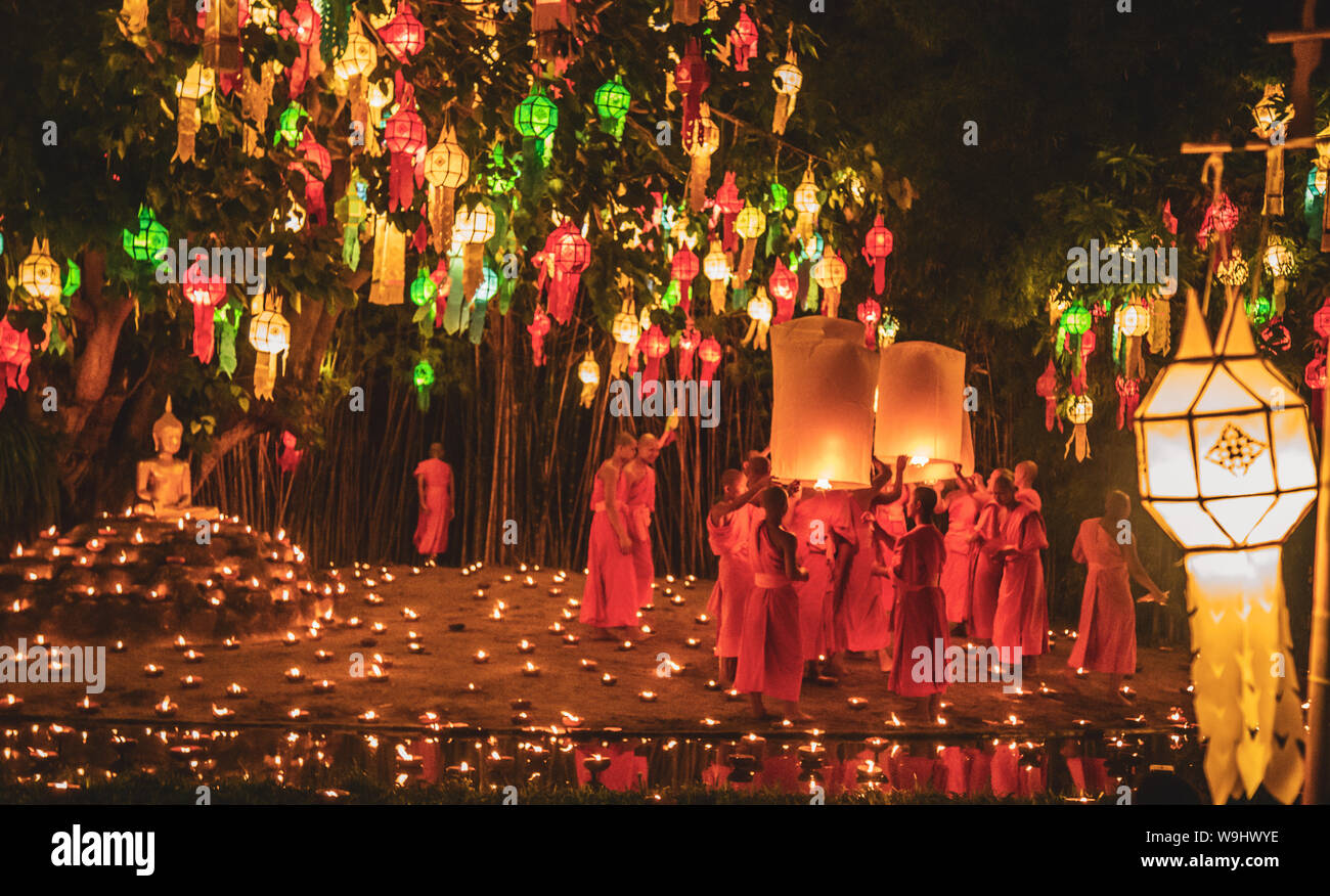 Lanterns Festival Yee Peng And Loy Khratong In Chiang Mai In Thailand Stock Photo Alamy