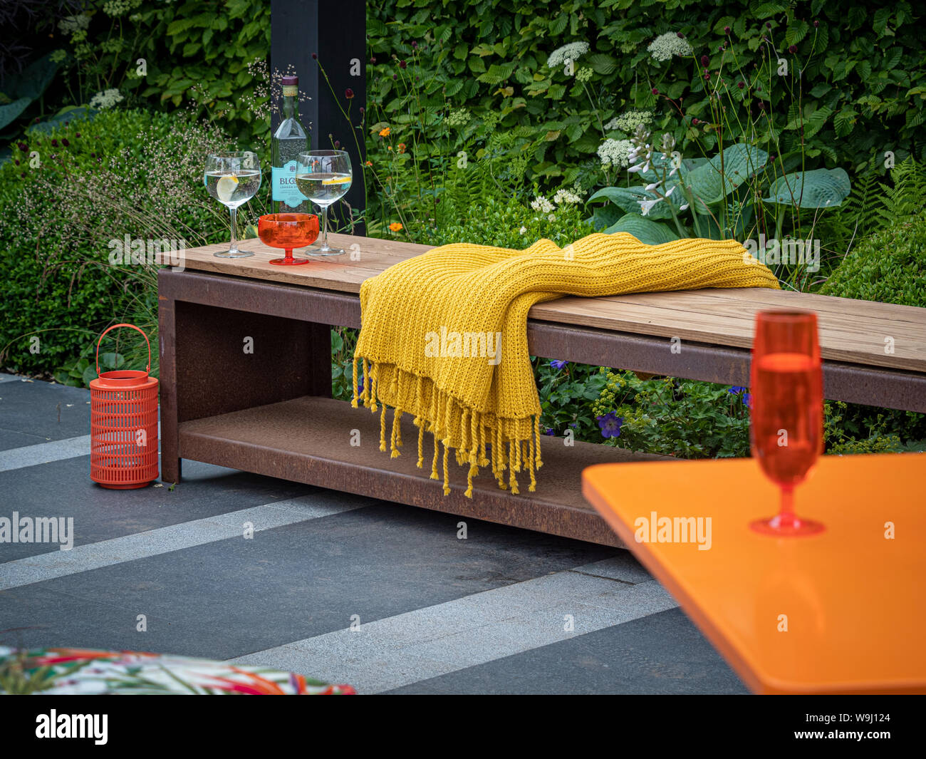 Cool Outdoor Wood And Metal Garden Bench On Grey Stone Patio Area Caraccident5 Cool Chair Designs And Ideas Caraccident5Info