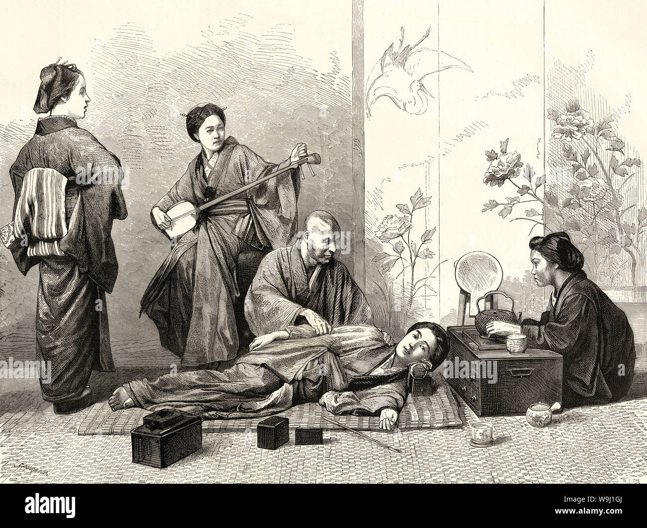 [ 1870s Japan - Japanese Blind Masseur at Work ] —   A blind masseur (あんま) giving a massage to a woman lying on the floor. Massage was a common occupation for the visually impaired. In the back a woman is playing the shamisen. A kiseru pipe is laying on the floor.  Published in the British weekly illustrated newspaper The Graphic on April 30, 1870 (Meiji 3).  19th century vintage newspaper illustration. Stock Photo