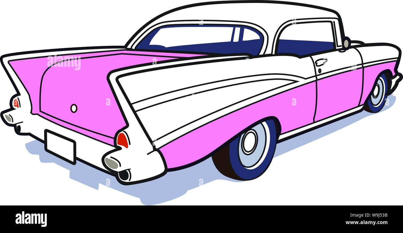 50's car from behind with tail fin loose line art with flat fill color Stock Vector