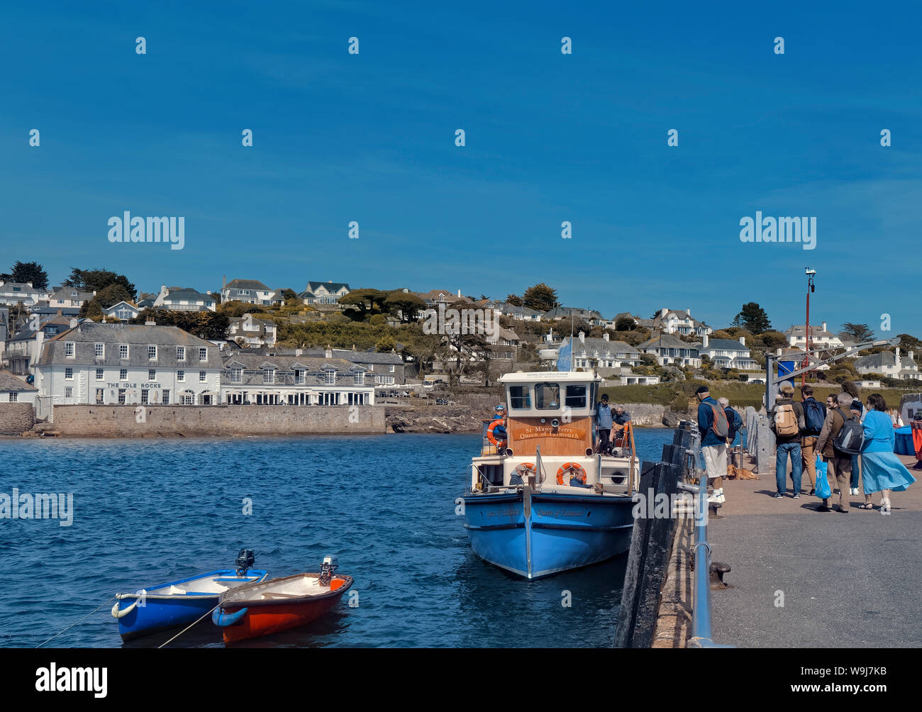 Embarkation on Queen of Falmouth ferry, St. Mawes, Cornwall Stock Photo