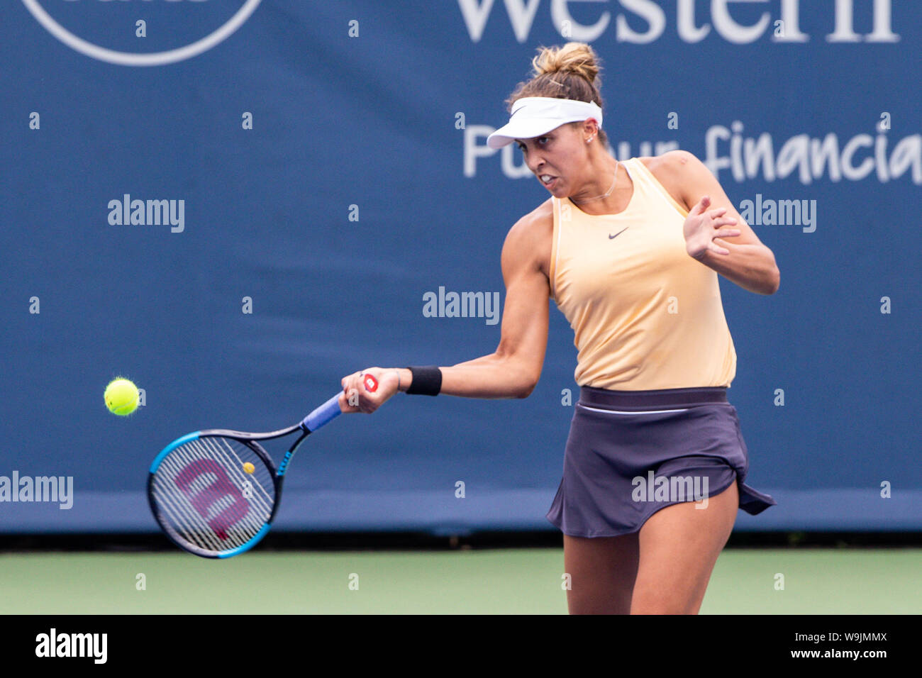 Mason, Ohio, USA. 13th Aug, 2019. Madison Keys (USA) hits a forehand shot during Tuesday's round of the Western and Southern Open at the Lindner Family Tennis Center, Mason, Oh. Credit: Scott Stuart/ZUMA Wire/Alamy Live News Stock Photo