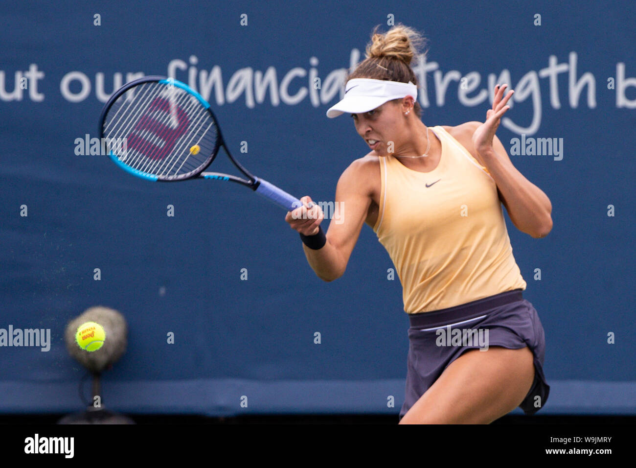 Mason, Ohio, USA. 13th Aug, 2019. Madison Keys (USA) in action during Tuesday's round of the Western and Southern Open at the Lindner Family Tennis Center, Mason, Oh. Credit: Scott Stuart/ZUMA Wire/Alamy Live News Stock Photo