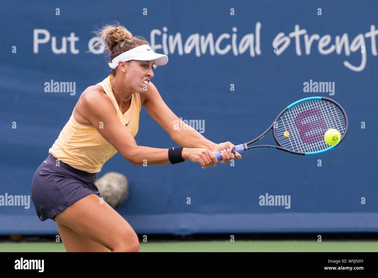 Mason, Ohio, USA. 13th Aug, 2019. Madison Keys (USA) hits a backhand shot during Tuesday's round of the Western and Southern Open at the Lindner Family Tennis Center, Mason, Oh. Credit: Scott Stuart/ZUMA Wire/Alamy Live News Stock Photo