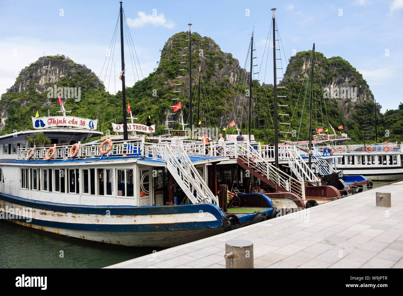 Tourist boats moored up for visit to Hang Dau Go caves grottoes in Halong Bay in South China Sea. Dau Go Island, Quang Ninh, Vietnam, Asia Stock Photo