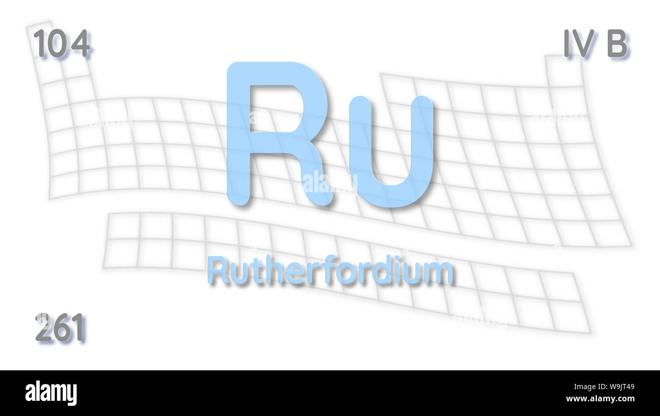 Ruthrtfordium chemical element  atomic data and symbol - table of elements Stock Photo