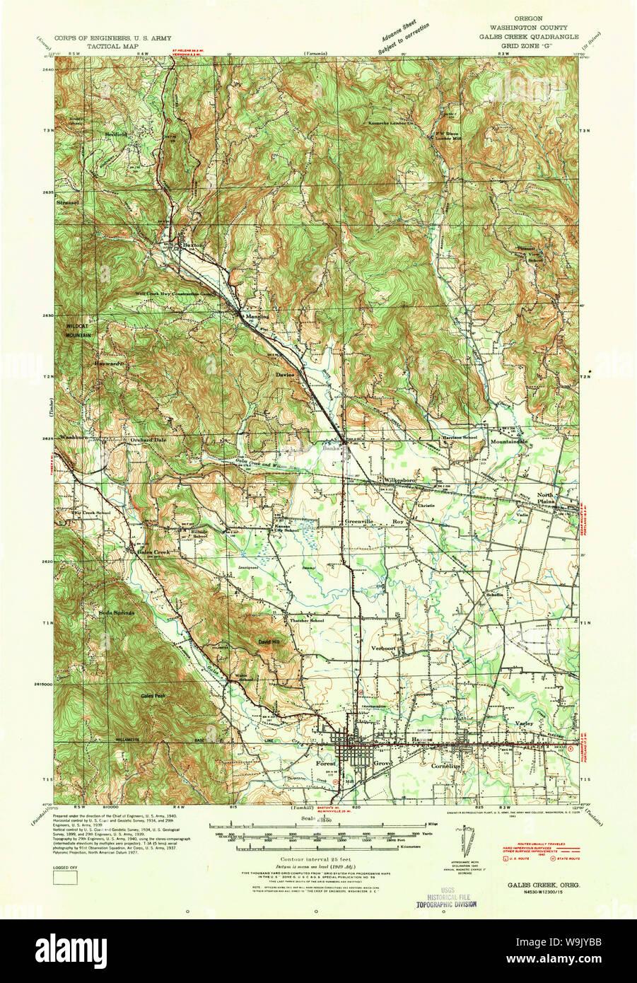 gales creek oregon map Usgs Topo Map Oregon Gales Creek 282508 1941 62500 Restoration gales creek oregon map