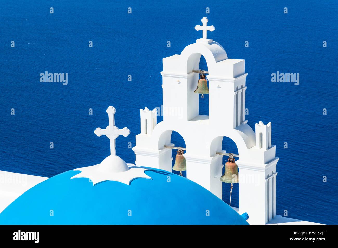Blue dome and bell tower, St. Gerasimos church, Firostefani, Fira, Santorini (Thira), Cyclades Islands, Greek Islands, Greece, Europe Stock Photo