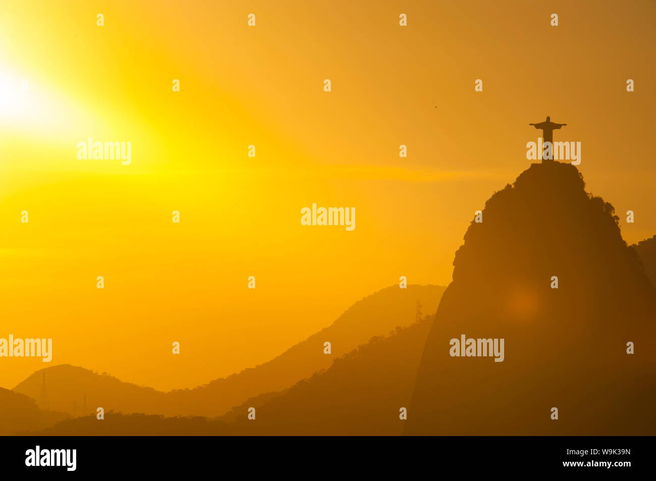 View from the Sugarloaf of Christ the Redeemer statue on Corcovado, Rio de Janeiro, Brazil, South America Stock Photo