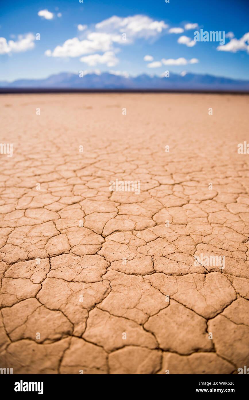 El Barreal Blanco de la Pampa del Leoncito, a dried river bed at Barreal, San Juan Province, Argentina, South America Stock Photo