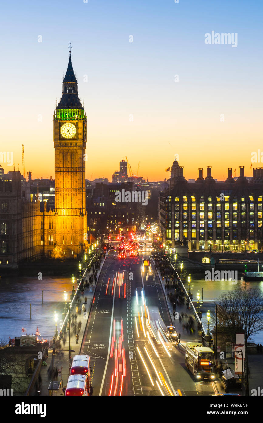 High angle view of Big Ben, the Palace of Westminster and Westminster Bridge at dusk, London, England, United Kingdom, Europe Stock Photo