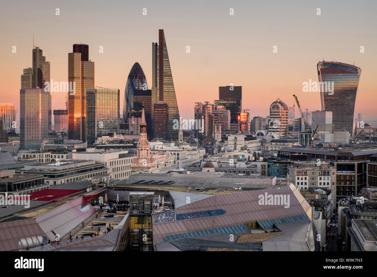 City of London skyline from St. Pauls Cathedral, London, England, United Kingdom, Europe Stock Photo