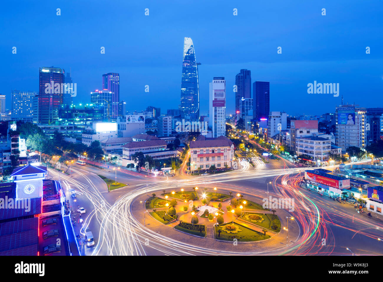 Ben Thanh market area and Bitexco Financial Tower, Ho Chi Minh City (Saigon), Vietnam, Indochina, Southeast Asia, Asia Stock Photo