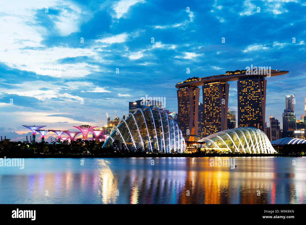 Gardens by the Bay, Cloud Forest, Flower Dome, Marina Bay Sands Hotel and Casino, Supertree Grove, Singapore, Southeast Asia, Asia Stock Photo