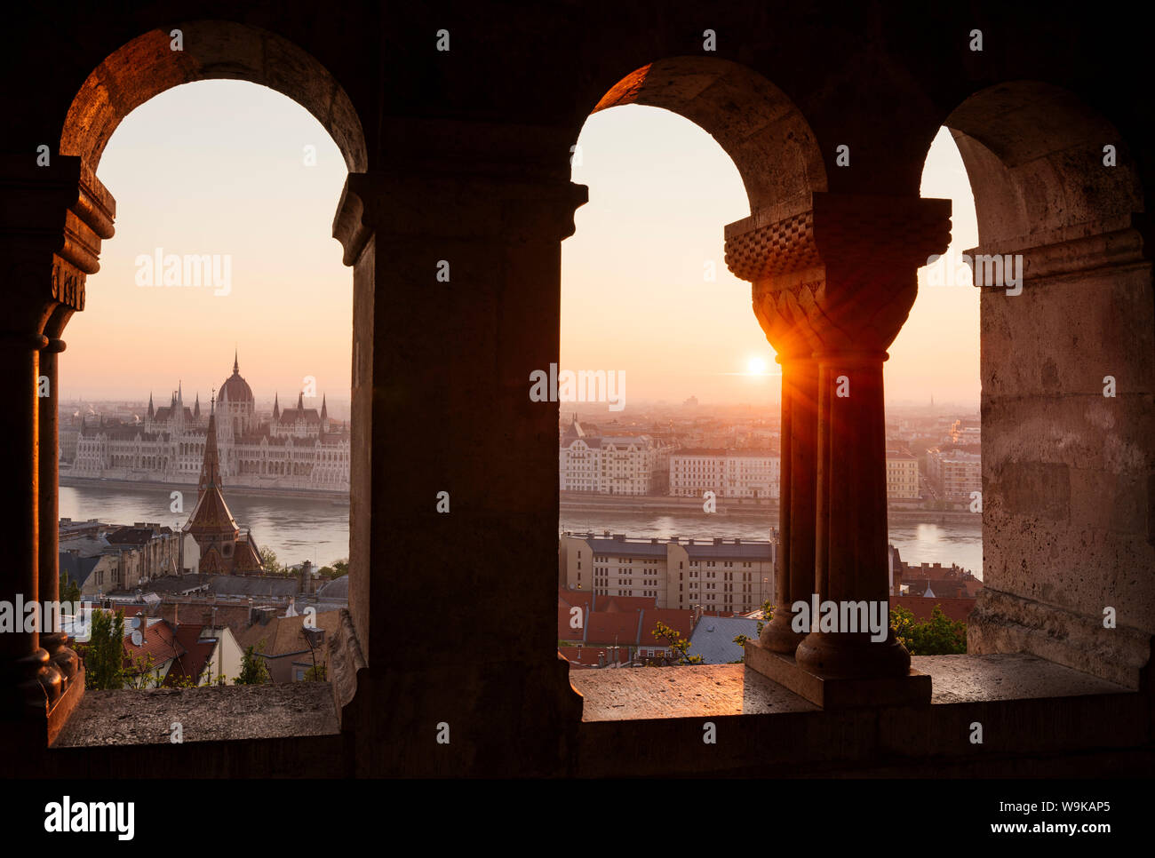 View from Fisherman's Bastion over Danube River and Hungarian Parliament Building at dawn, Budapest, Hungary, Europe Stock Photo