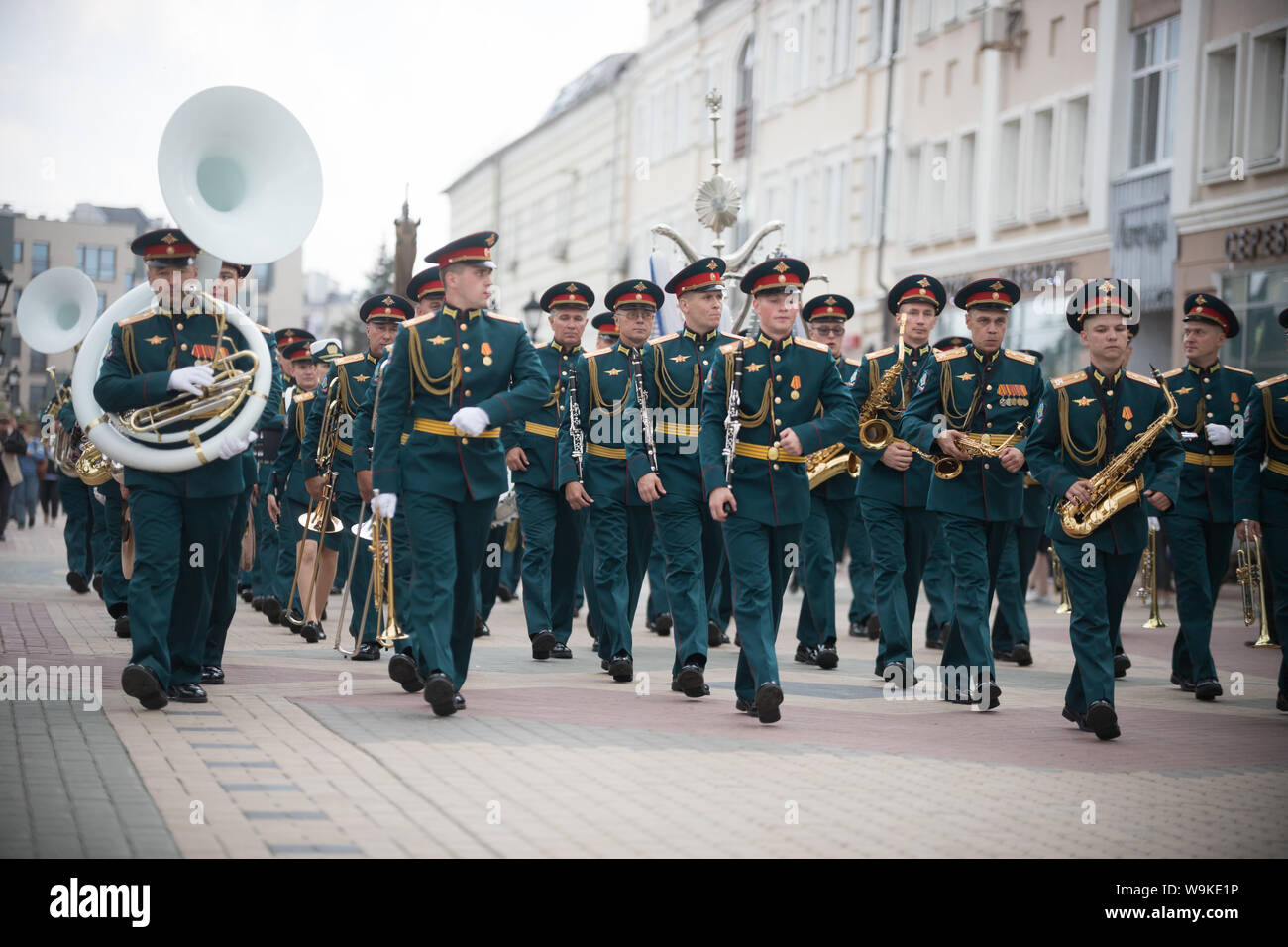 RUSSIA, KAZAN 09-08-2019: A wind instrument parade - people