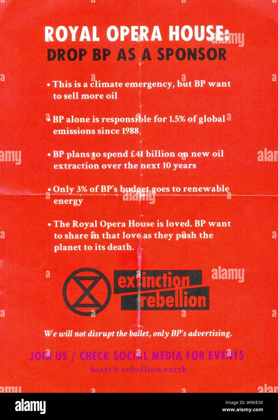 Poster distributed in Trafalgar Square, London by Extinction Rebellion on 11th June 2019 Stock Photo
