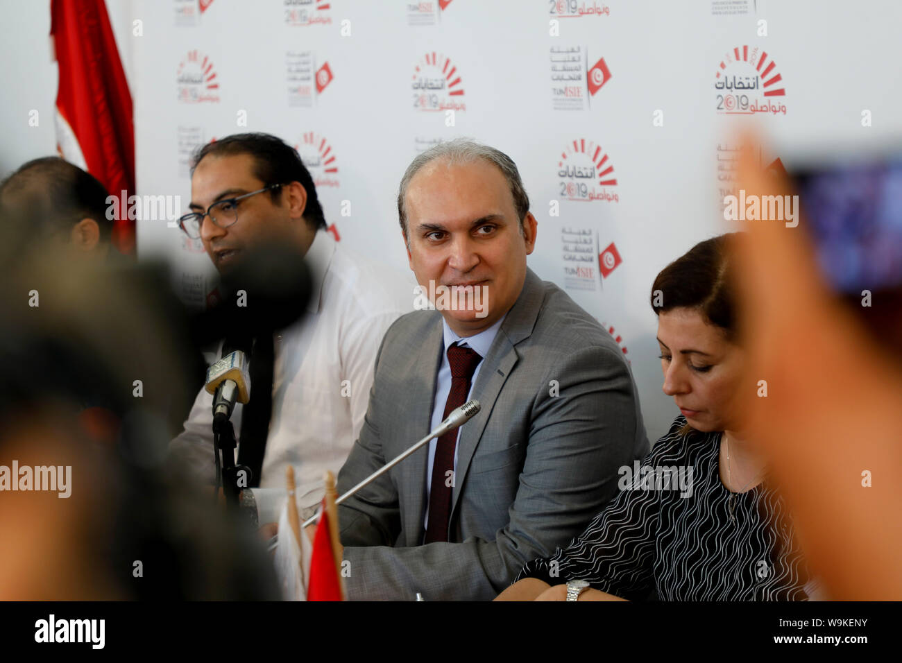 Tunis, Tunisia. 14th Aug, 2019. The head of Tunisia's Independent High Authority for elections (ISIE) Nabil Baffoun speaks during a press conference to announce the approved candidacies for the upcoming presidential election. Twenty-six candidacies to the Tunisian presidential election of September 15 have been validated and 71 rejected. Credit: Khaled Nasraoui/dpa/Alamy Live News Stock Photo