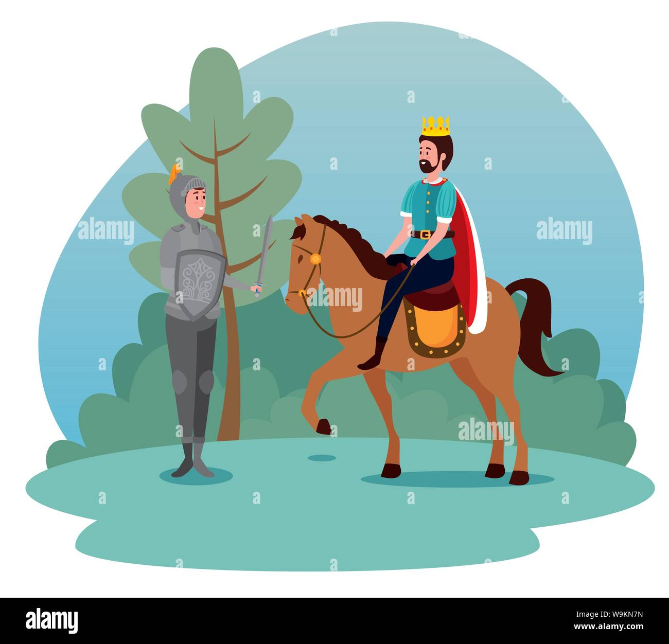 Man King Riding Royal Horse And Sir With Shield And Sword Stock Vector Image Art Alamy