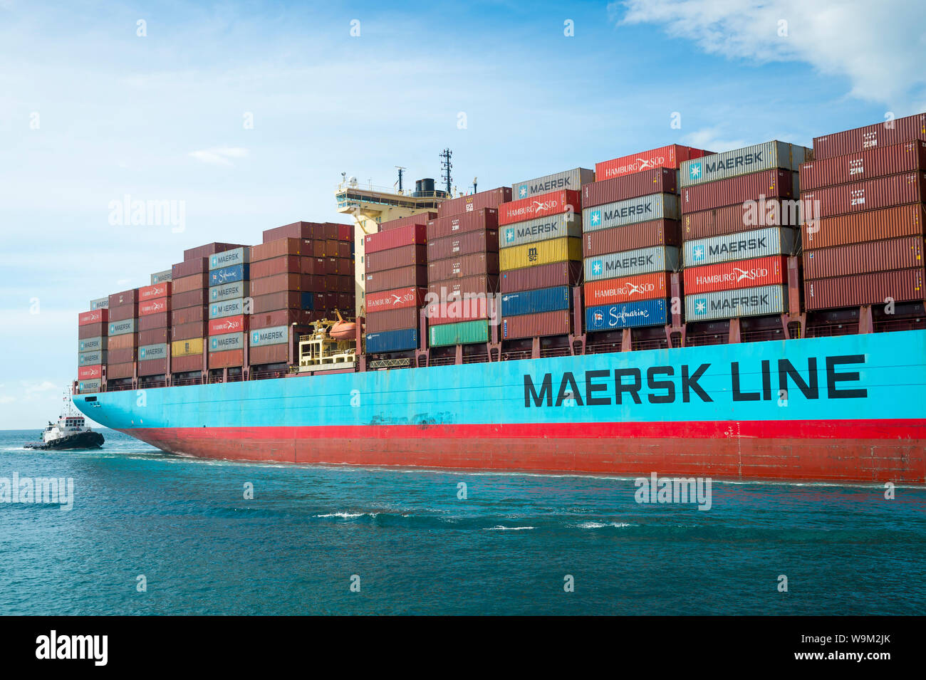 MIAMI - AUGUST 12, 2019: A Maersk container ship passes
