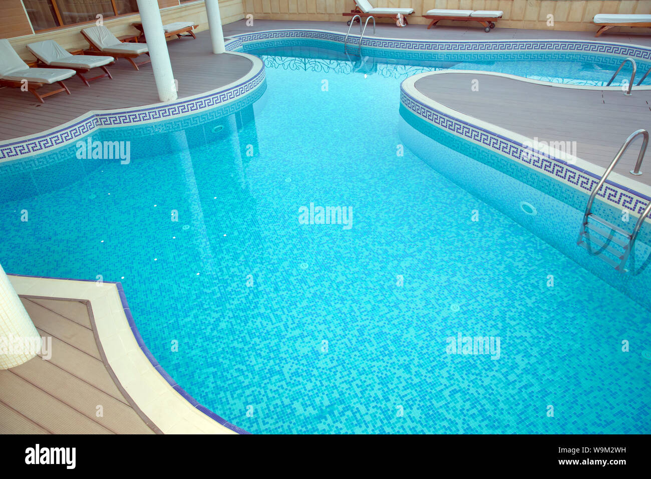 Swimming Pool . Bubble pool 3 . View on swimming pool with turquoise ...
