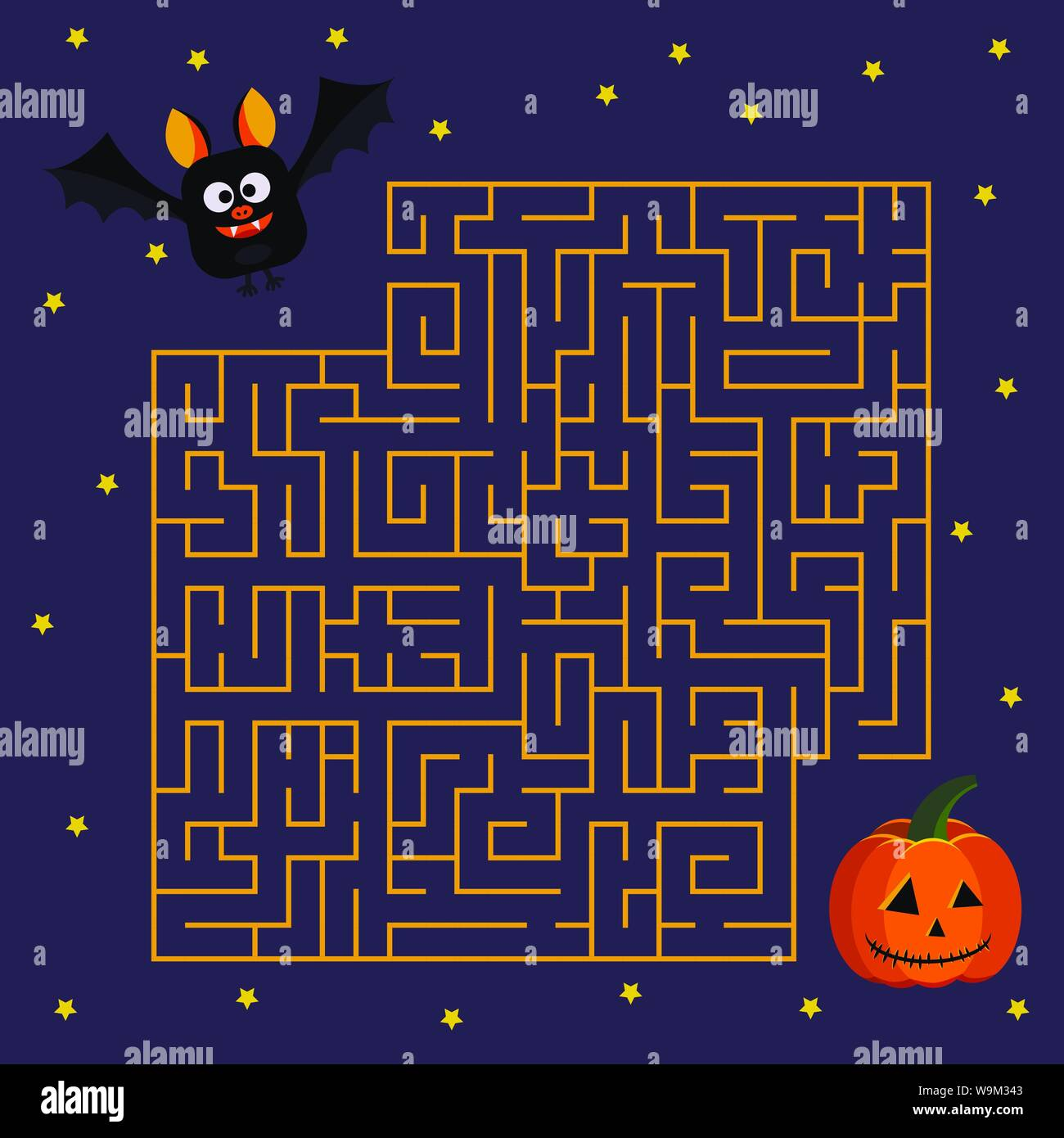 Help cute bat to find right his friend halloween pumpkin in labyrinth Vector illustration in cartoon flat style. Stock Vector